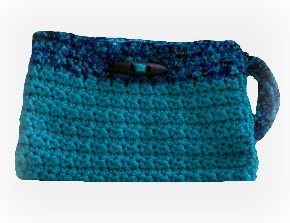 Crocheted Wristlet Deep Turquoise
