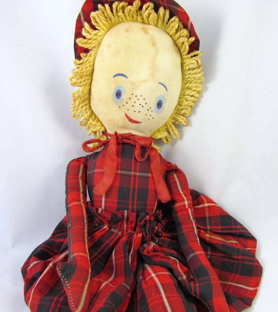 Vintage Cloth Doll in Red Plaid Dress Yarn Hair