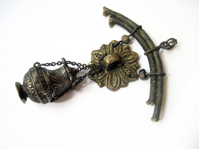 Behind the Veil. Assemblage Pendant.