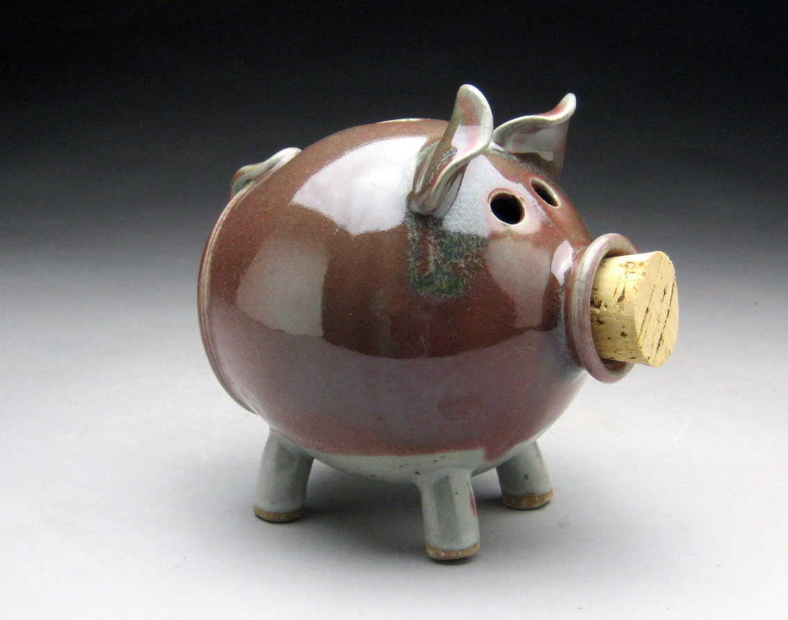 Stoneware piggy bank deep pink and white by meeshspottery Decorative piggy banks for adults