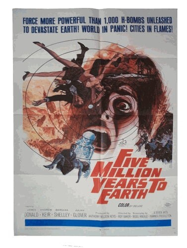 Vintage Sci Fi Movie Poster Five Million Years To Earth Hammer