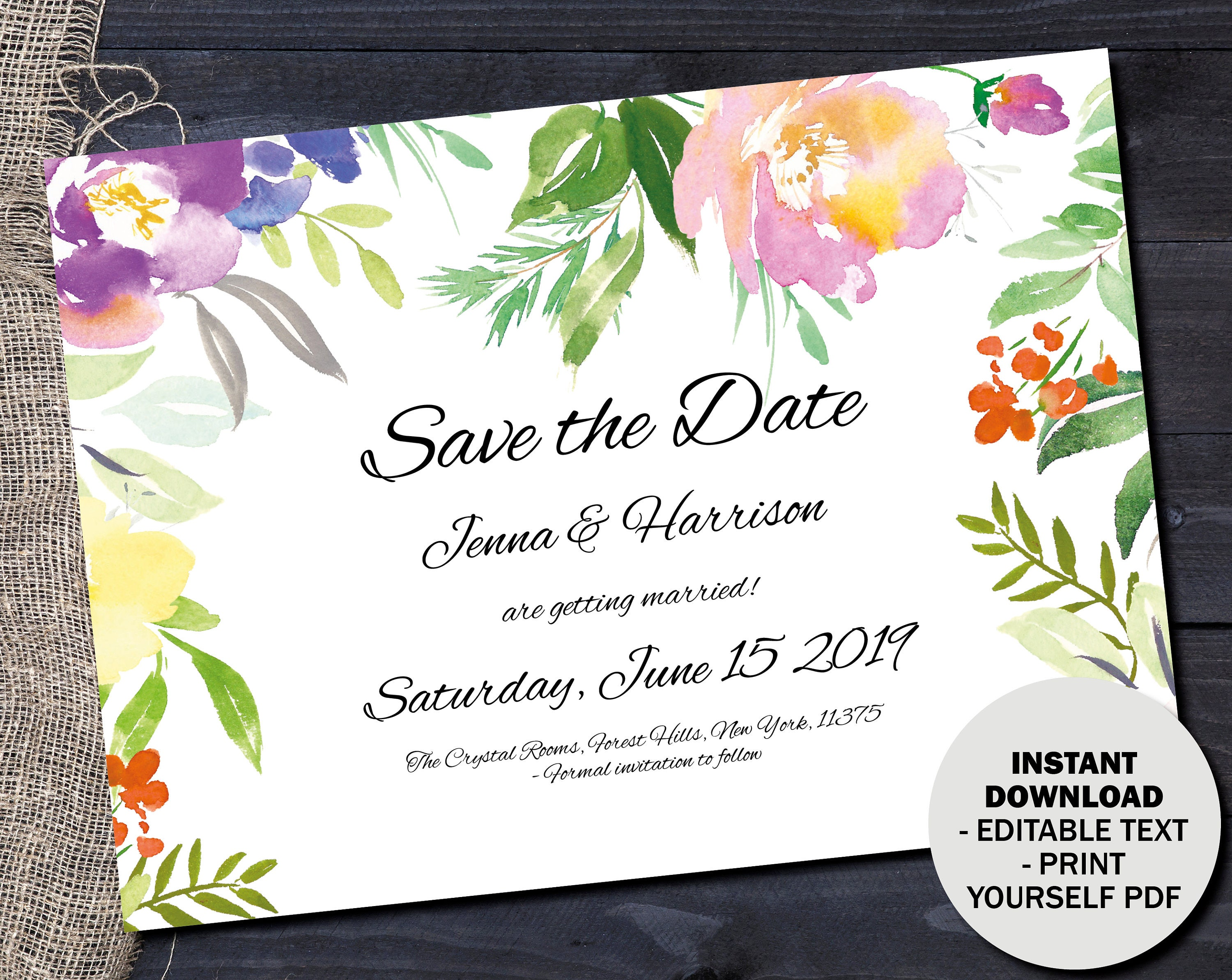 Wedding Save the Date Template Editable Save Date PDF Printable Wedding Save the Date Invite DIY Save Date Watercolor Border 7 SAVE7