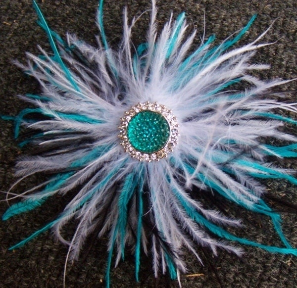 Ostrich Feather Hair Clip Turquoise Blue Black White Wedding Bride