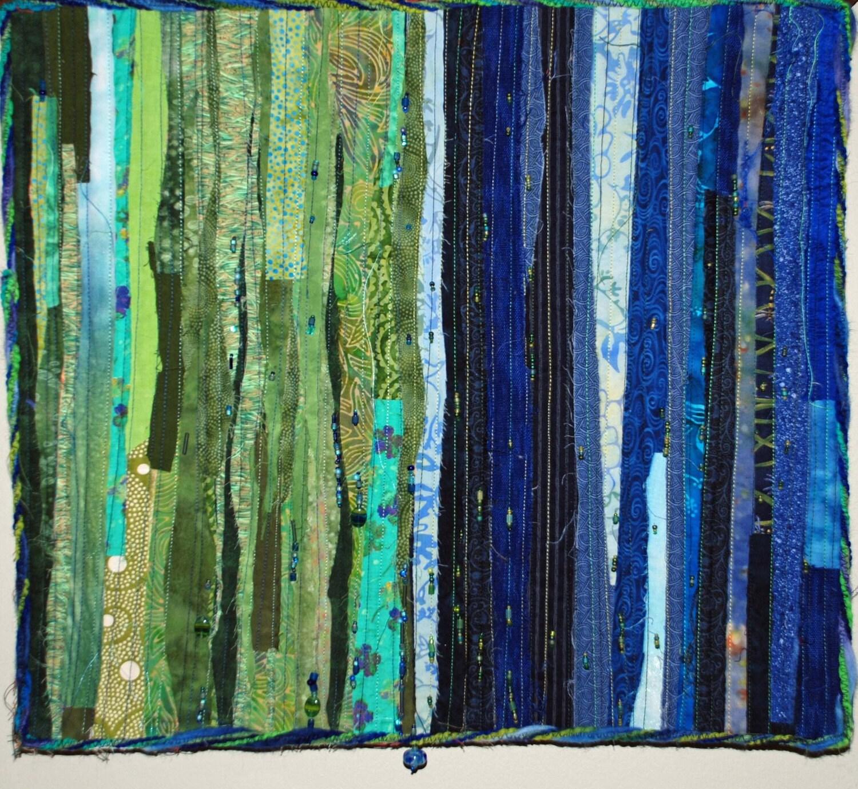 reserve for deborah blue and green fiber art by. Black Bedroom Furniture Sets. Home Design Ideas