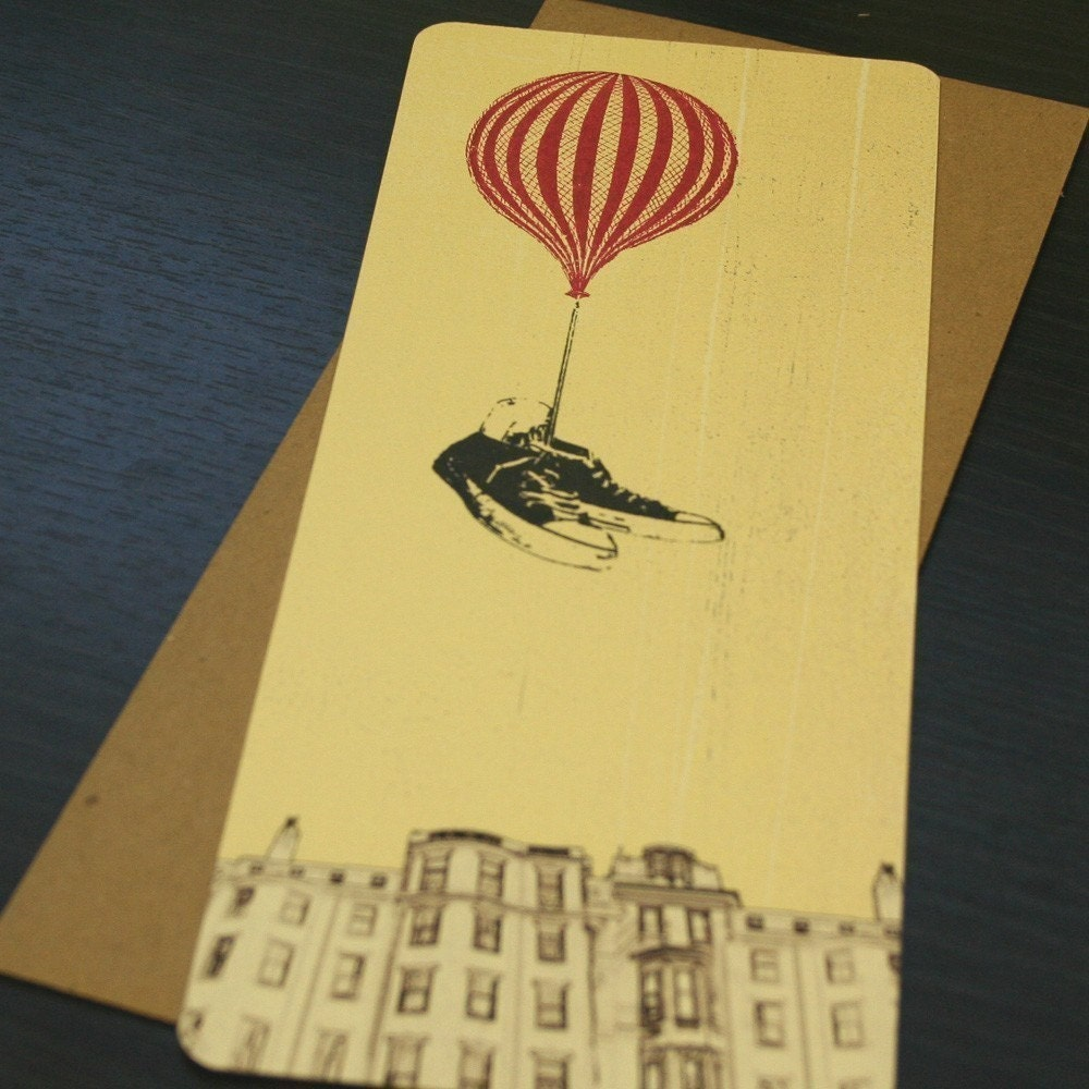 Flying Shoes - Screen-Printed Art Card
