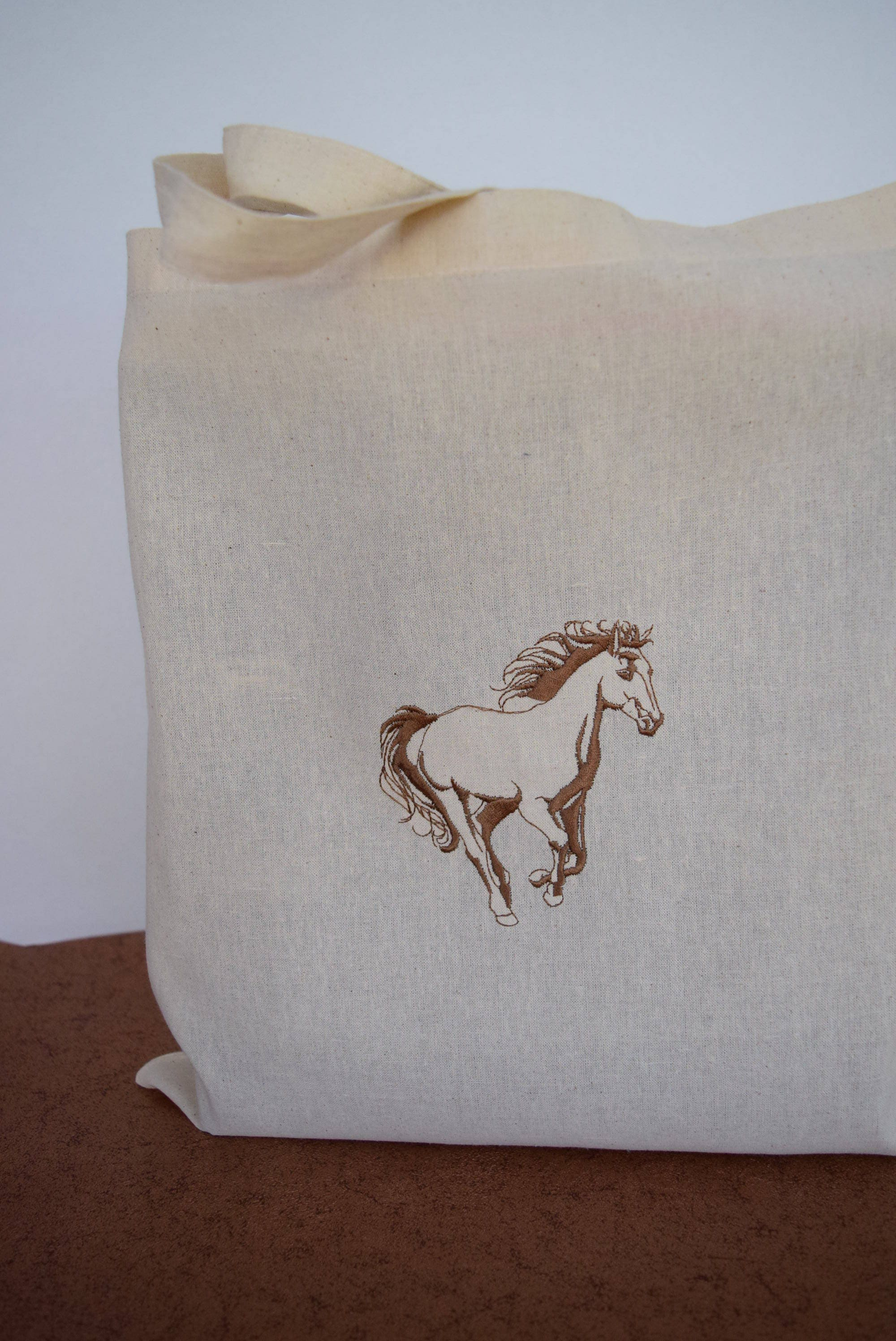 Horse Lovers Shopping Bag Reusable Lightweight Personalized Tote Foldable Grocery Embroidered Bags Eco Friendly Recycled Cotton Cloth Bag