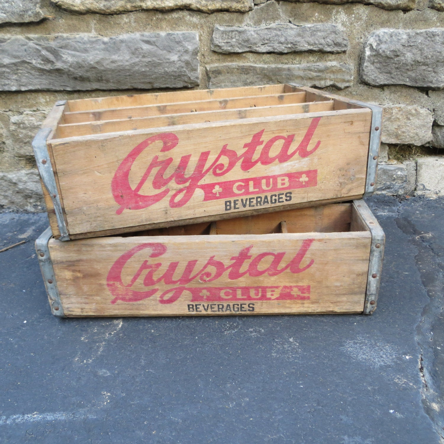 Vintage crate wooden soda crate crystal club by ozdoingitagain for Wooden soda crate ideas