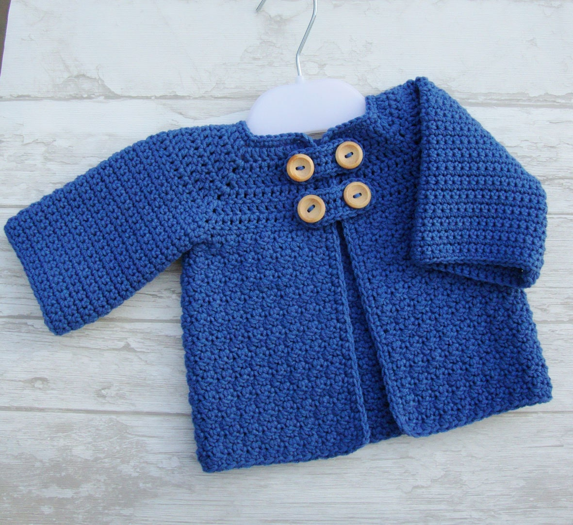 Crochet baby sweater - baby jacket - cotton cardigan for baby size 0/3 months ocean blue