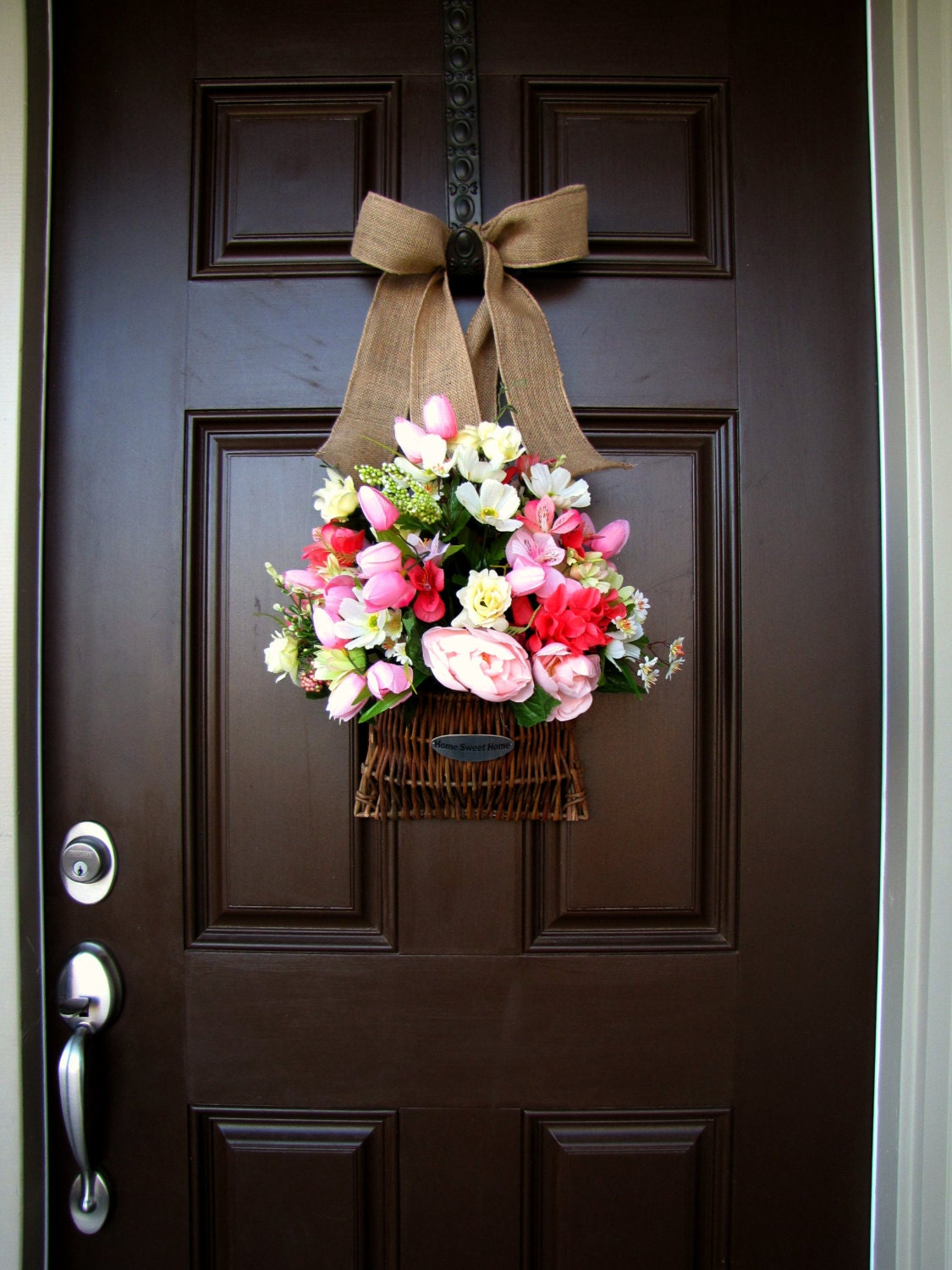 Front Door Home Sweet Home Flower Basket With By