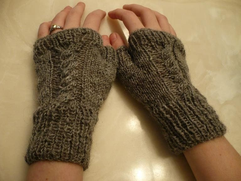 Cabled Hand Warmers Knitting Pattern by SunsetFibers on Etsy