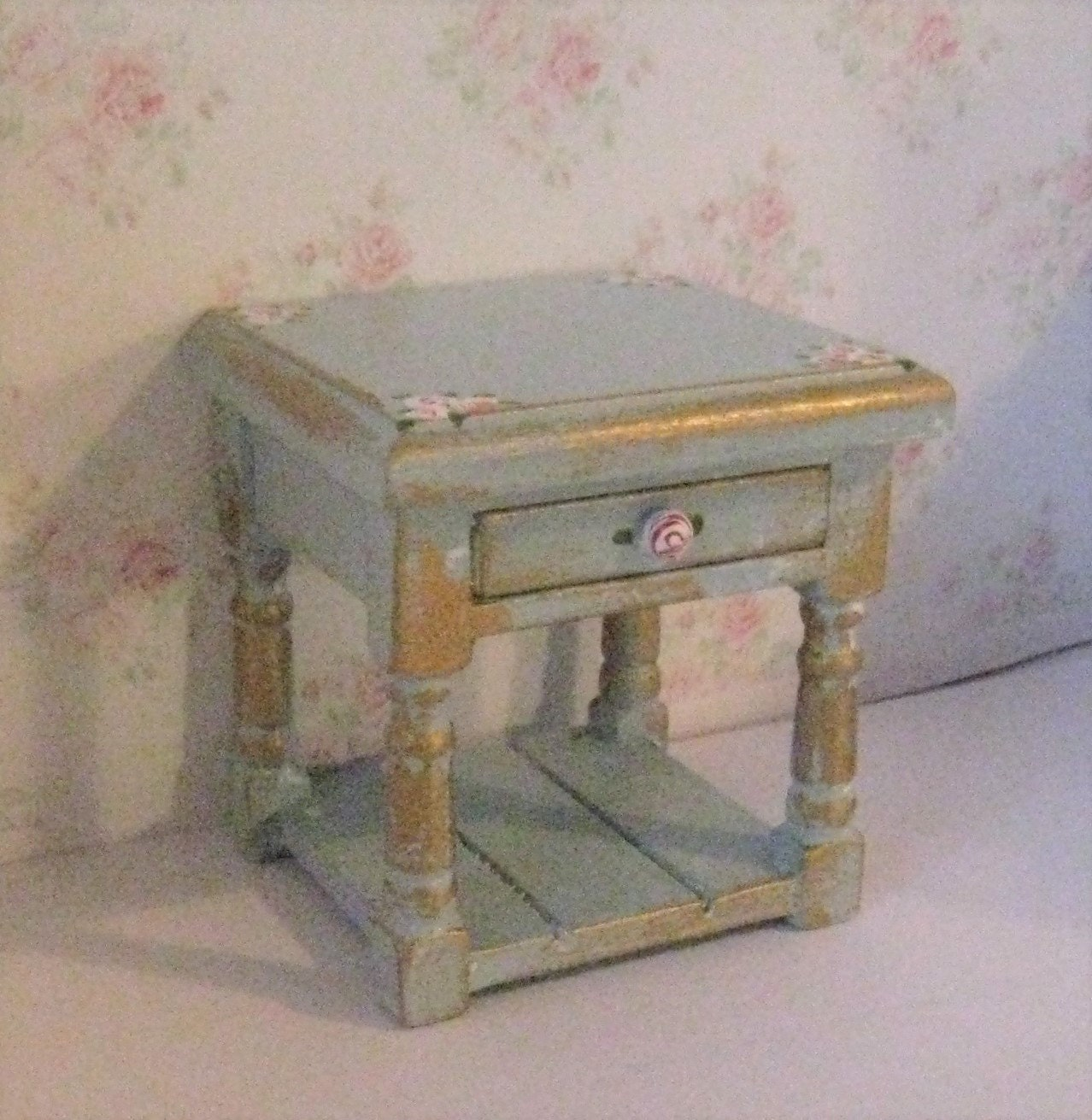 Dollhouse Bedside chest a dollhouse chest duck egg blue  miniature chest bedside  lamp table mini lamp table  in twelfth scale