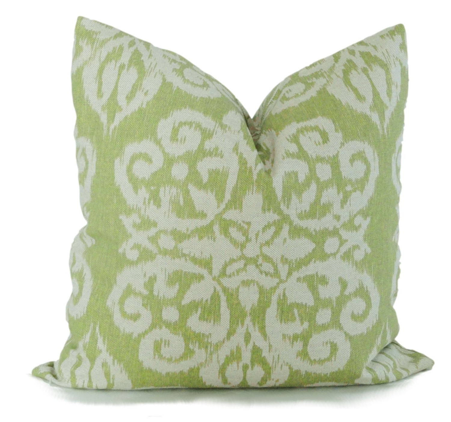 Celery Green Throw Pillow : Lacefield Celery Green Ikat Decorative Pillow Cover by PopOColor