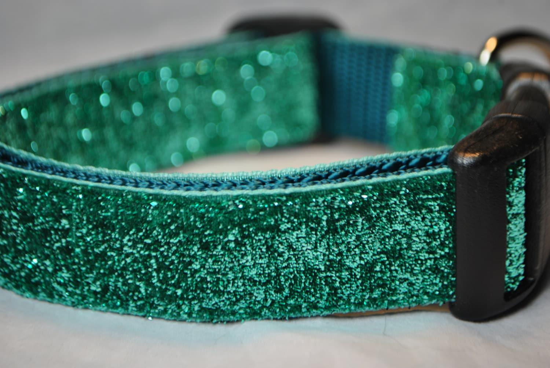 "Teal Metallic Glitter 1"" Width Adjustable Collar - swankypaws"