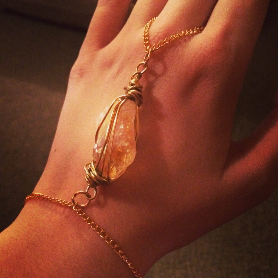 Gold wire wrapped raw citrine and gold chain hand jewelry