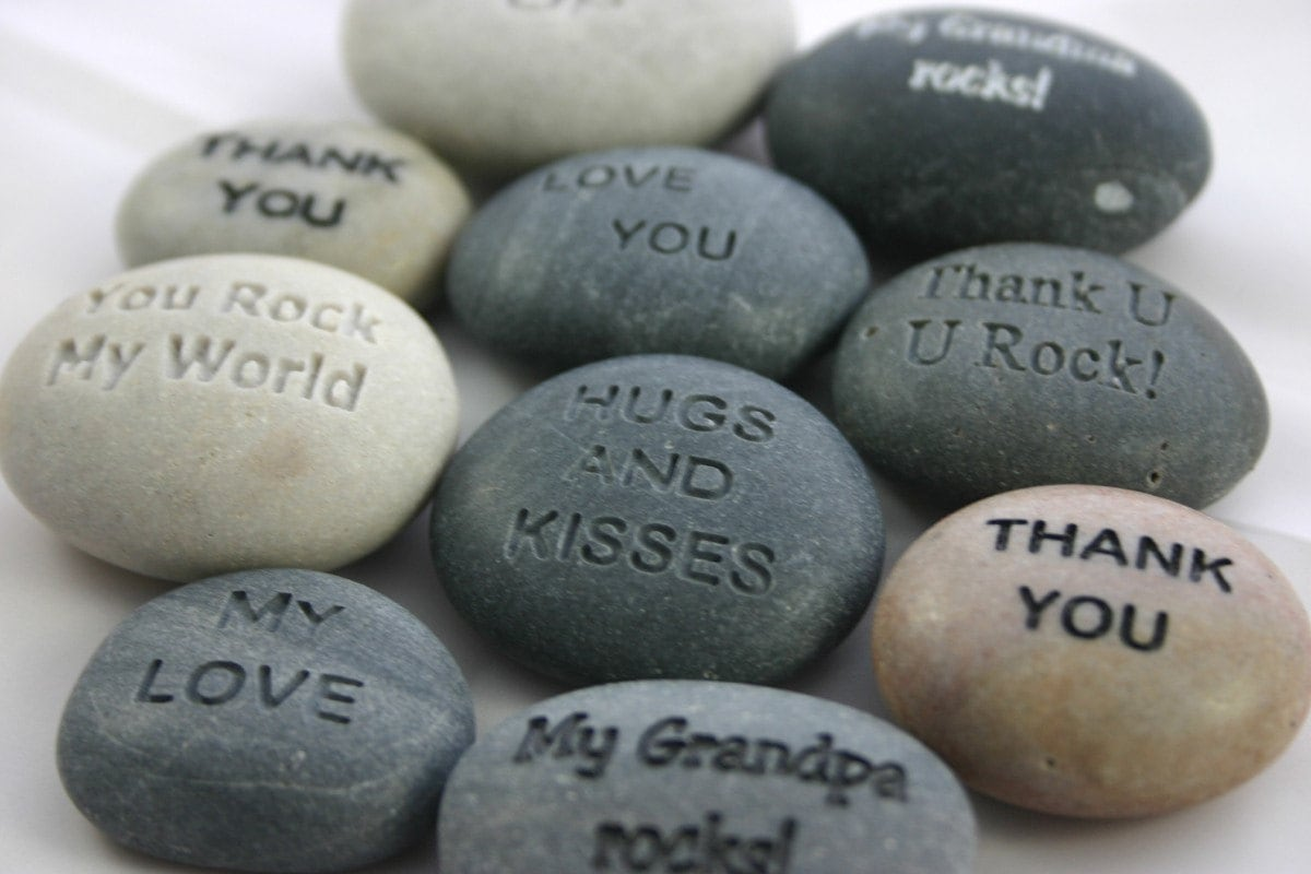 1 Custom Engraved Message Stone Personalized