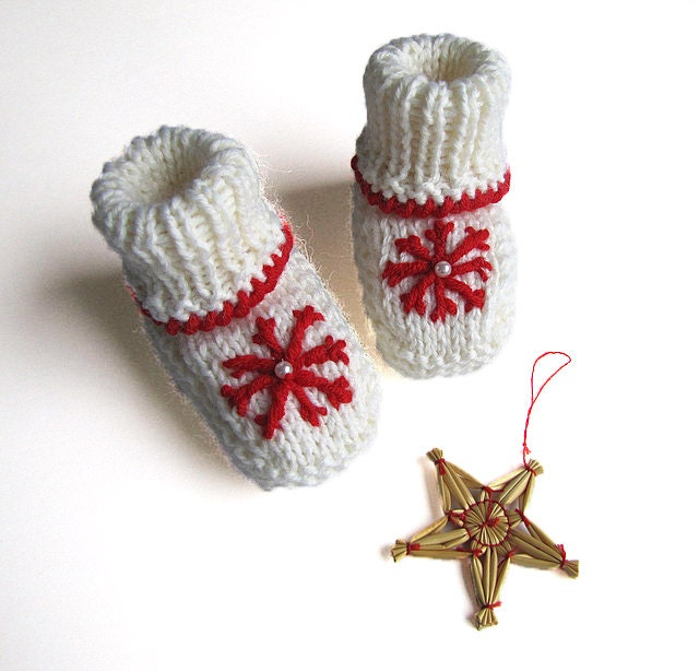 Hand knitted white baby Christmas booties with red by ...