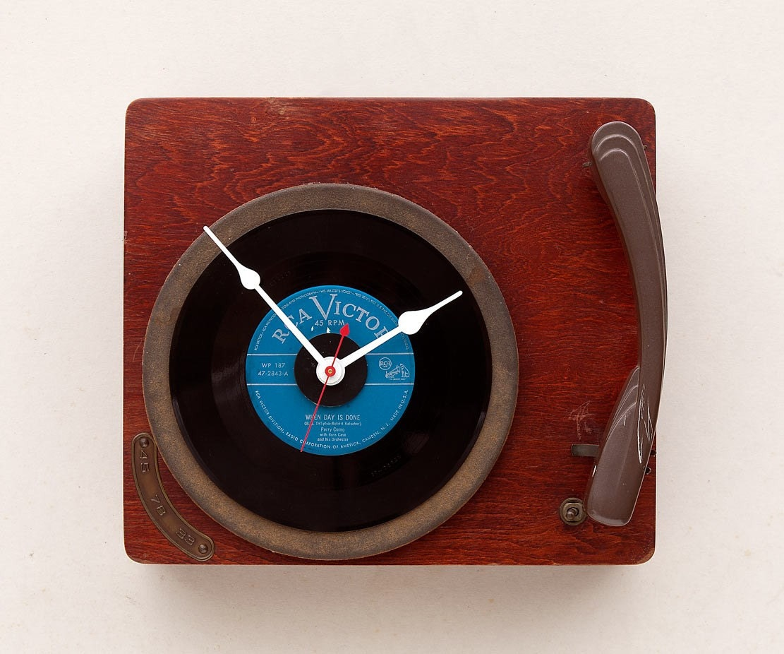 Clock created from a recycled Columbia record player