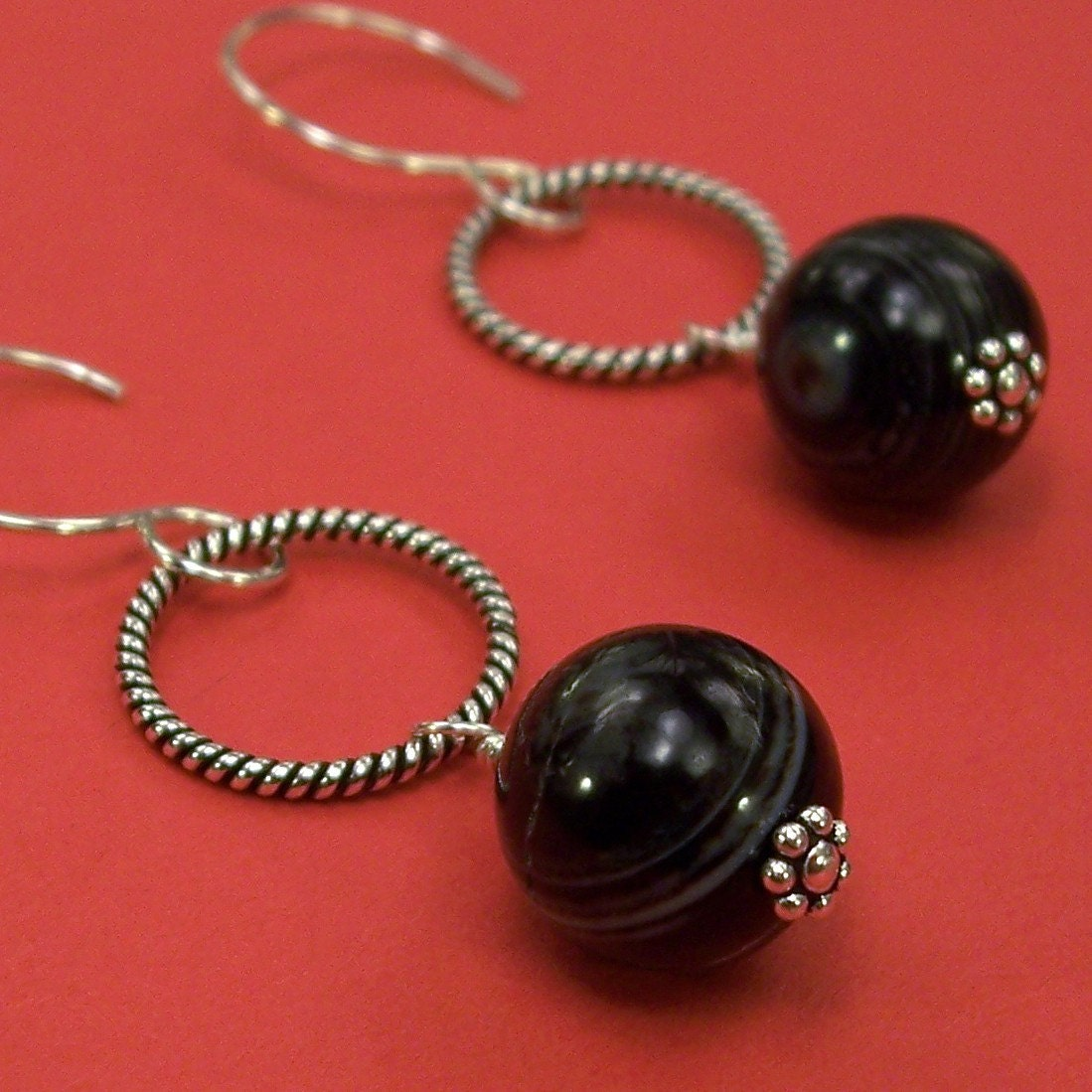 Black Striped Agate and Twisted Circle Earrings in Sterling Silver