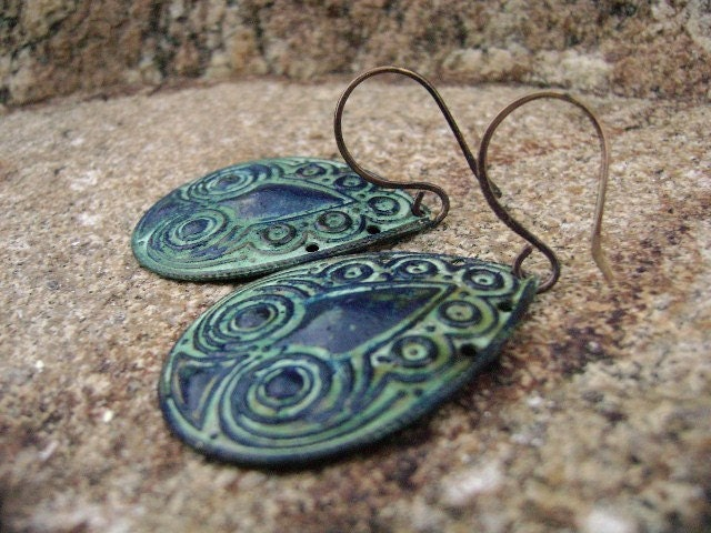 Last Pair-Tribal Blue- Ethnic Vedigris Patina Earrings