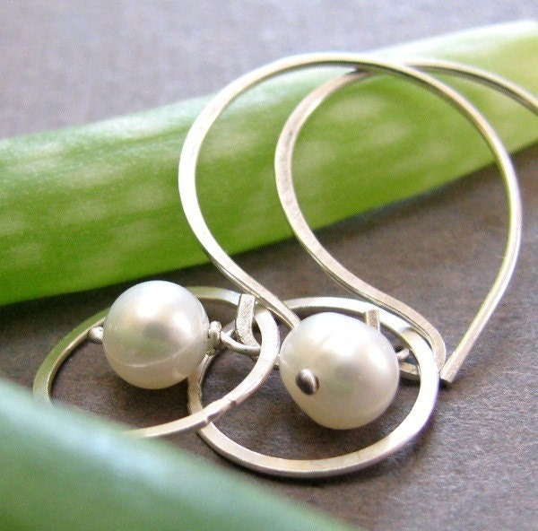 Earrings - White Pearl and Sterling Silver Halo Earrings