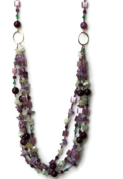 Lilac Bouquet: Long Multi Strand Multicolor Green Purple Mint Lilac Festive Necklace/ Bright Semiprecious Natural Stone Beads/ OOAK Unique - ALFAdesigns