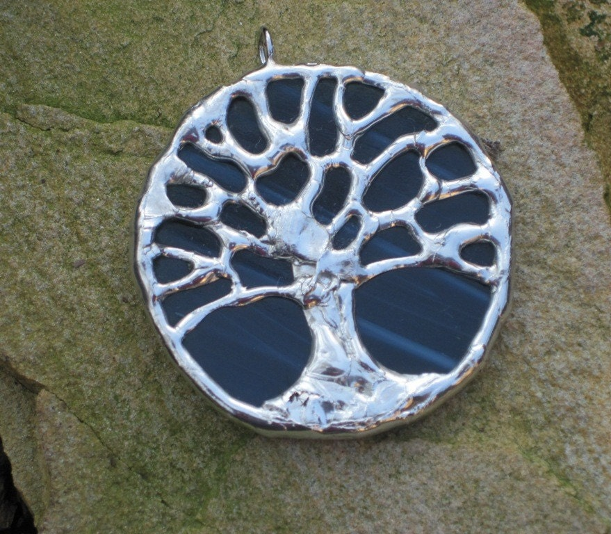 Toomer's Oak tree blue stained glass pendant