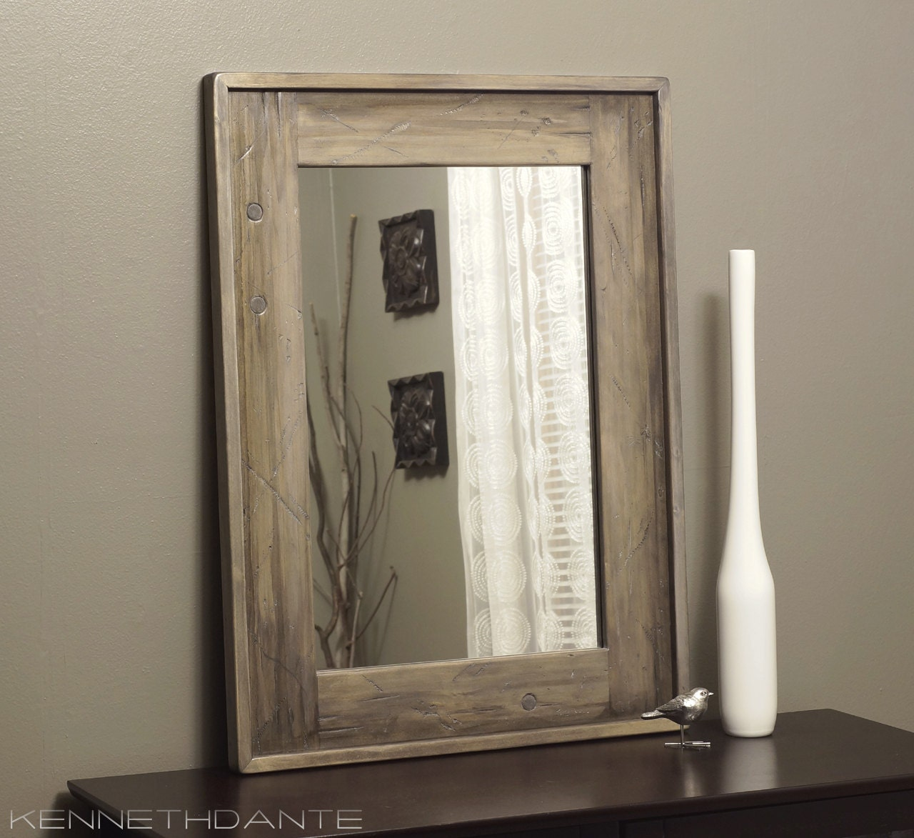 bathroom mirror wood distressed driftwood by kennethdante