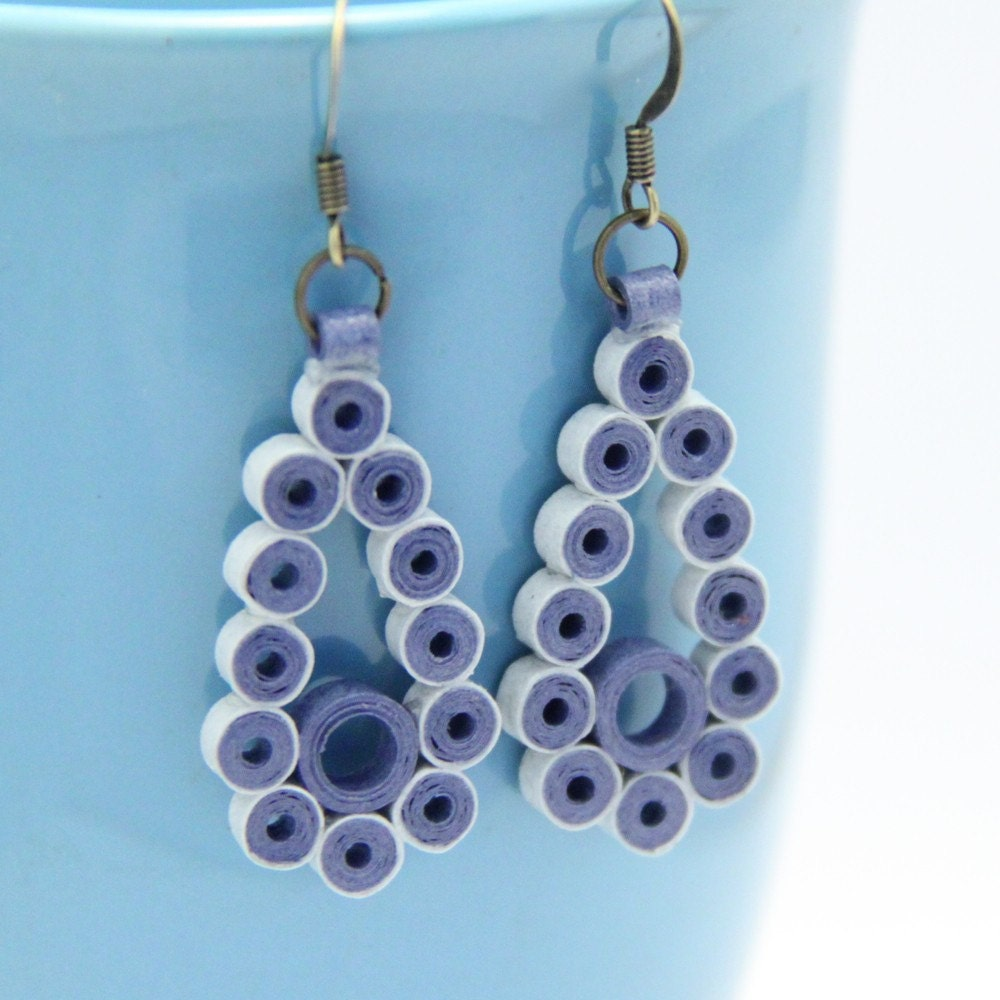 Paper Quilled Teardrop Earring - Several colors to choose from