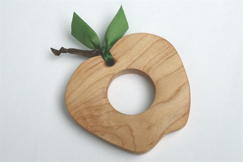 Apple-----NATURAL Wooden Teething Toy----Cherry or Maple