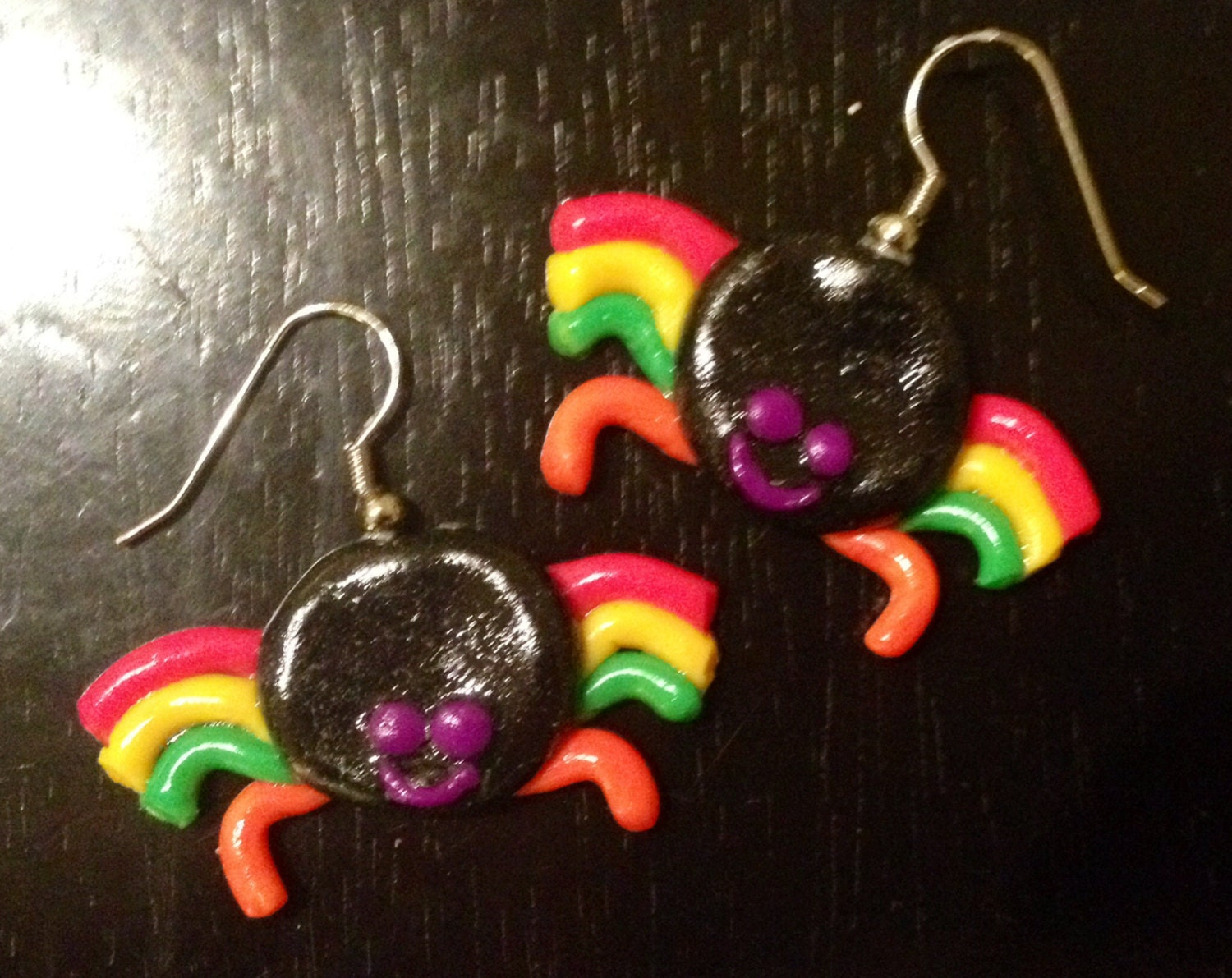 Happy Spider Earrings made with Sculpey clay - sweetiesbyrobyn