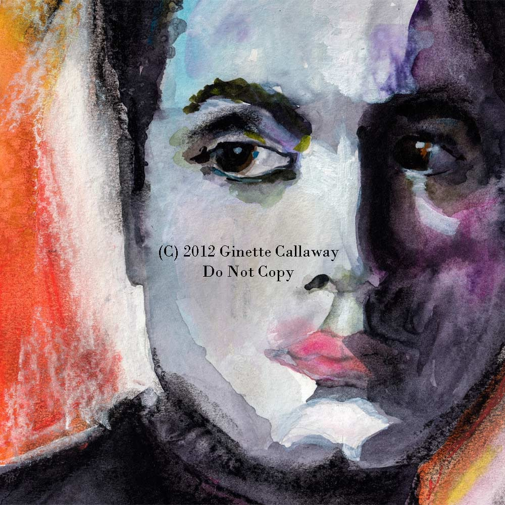 Film Classic Movies -  Charles Boyer The way I See Him Original Watercolor and Pastel 11 by 15 inch by Ginette