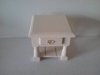 Doll house bedside table side table in cream  dollhouse furniture 112th scale miniature  dolls house furniture