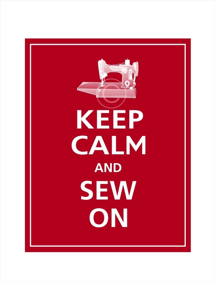 Personalized Keep Calm and SEW ON Print 8x10 (Cranberry featured)
