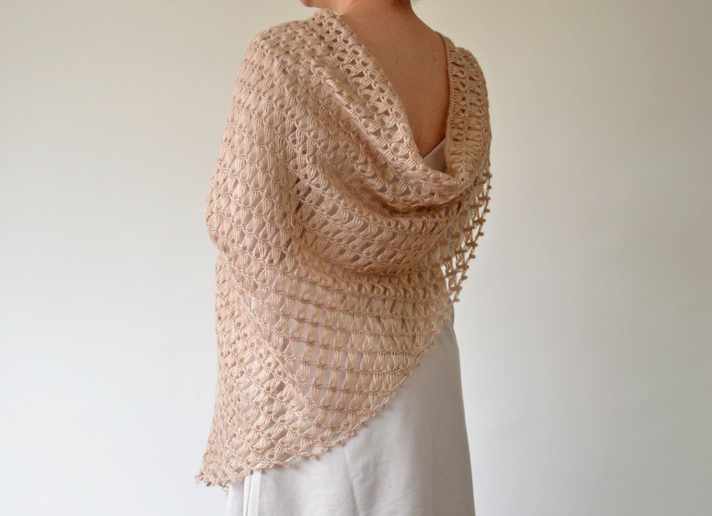 Handmade Beige Broomstick Lace Crochet Triangle Shawl by ...