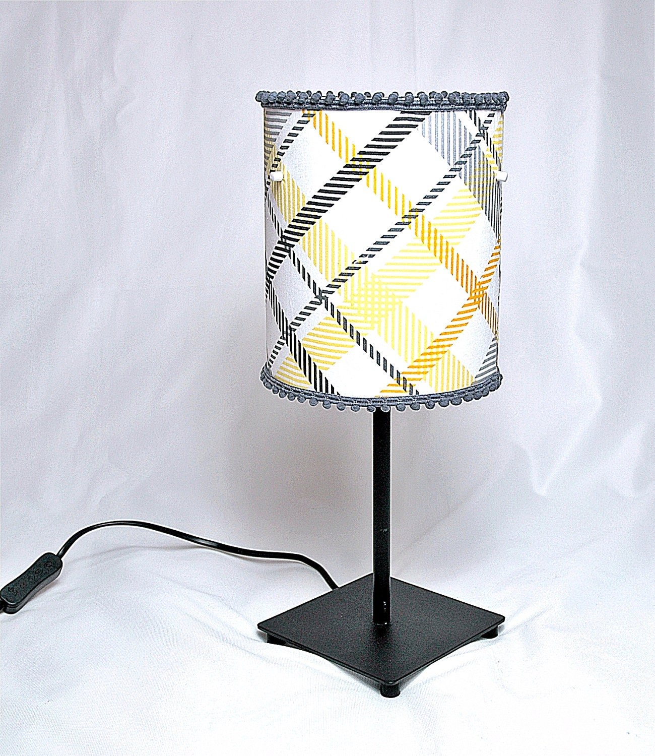 decorative grey and yellow checked printed fabric drum lamp shade. Black Bedroom Furniture Sets. Home Design Ideas