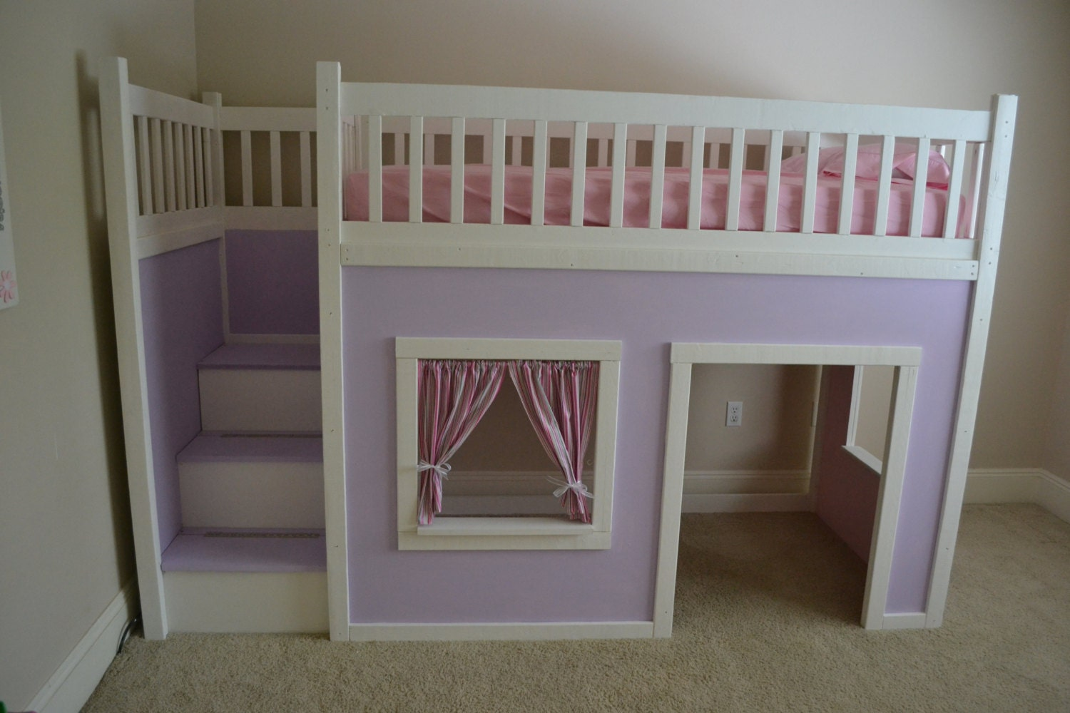Items similar to Playhouse loft bed with stairs on Etsy