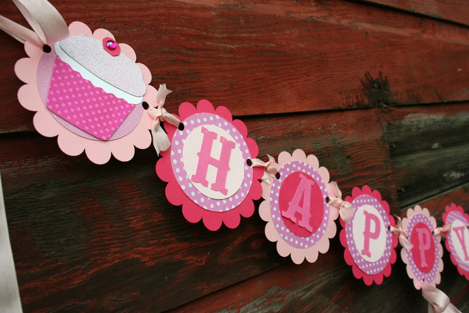 My Little Cupcake scalloped party banner in polka dot pink personalized