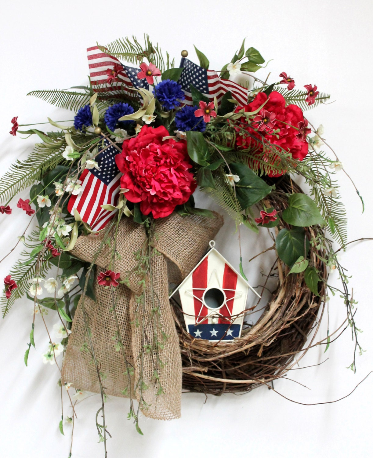Items Similar To Patriotic Front Door Wreath American Birdhouse Fourth Of July Memorial Day