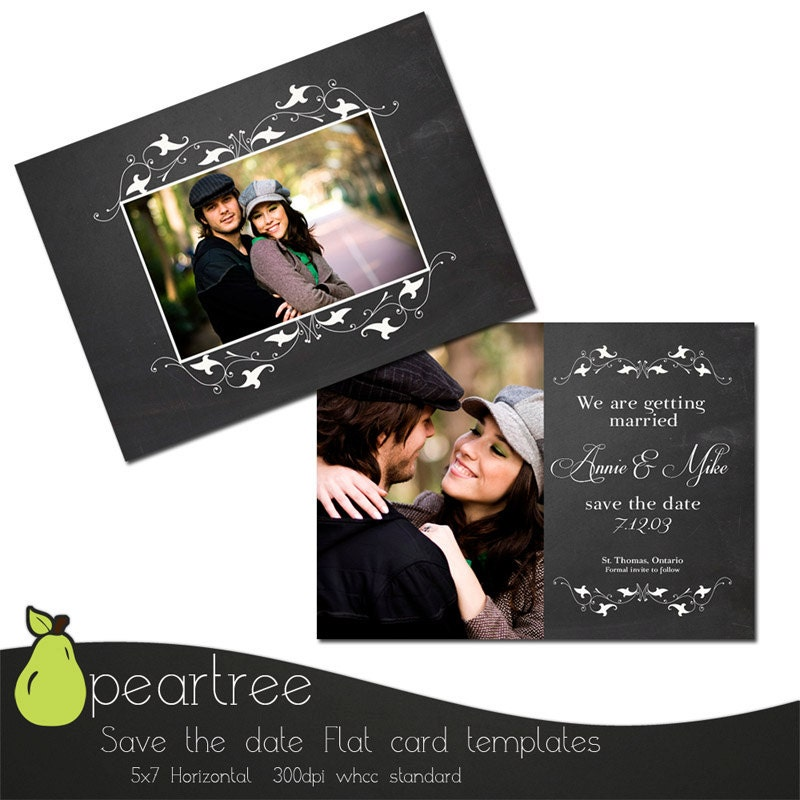 5x7in save the date psd template instant download for Save the date psd