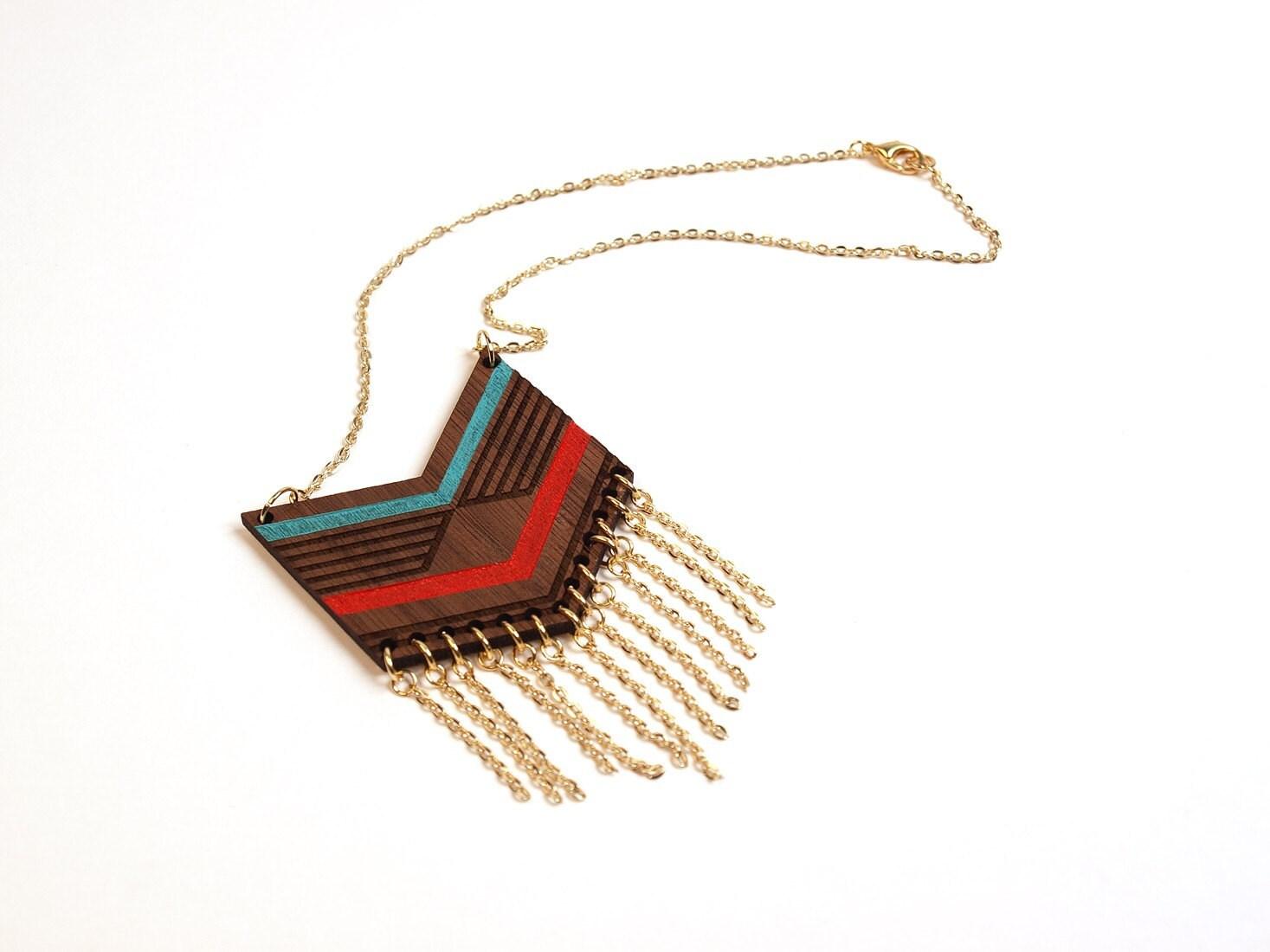 MEXI - Laser cut walnut fringe necklace, color