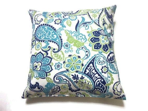 Navy Blue And Green Throw Pillows : Decorative Pillow Cover Turquoise Navy Blue by LynnesThisandThat
