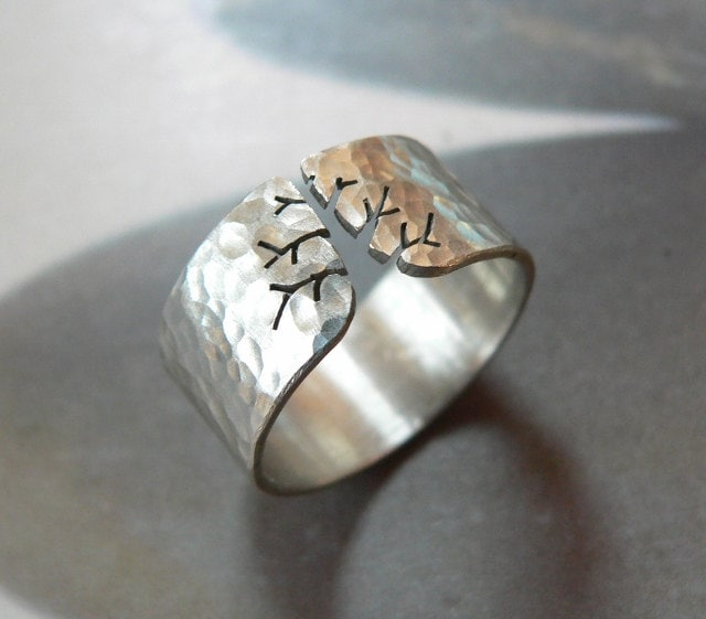 Autumn tree ring, rustic silver ring, hammered ring, metalwork OOAK jewelry