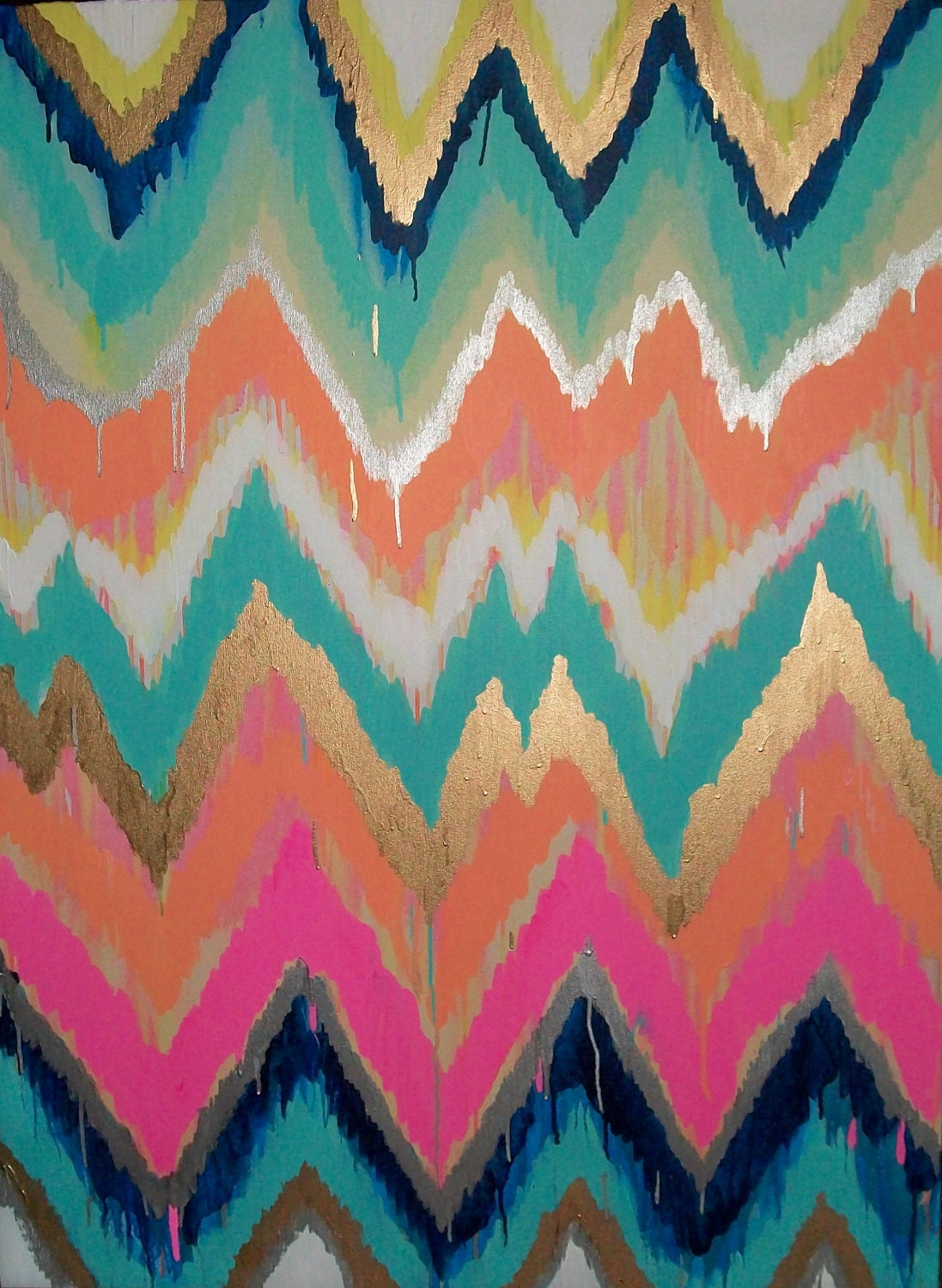 Custom ikat chevron 36x48 Painting by Jennifer Moreman