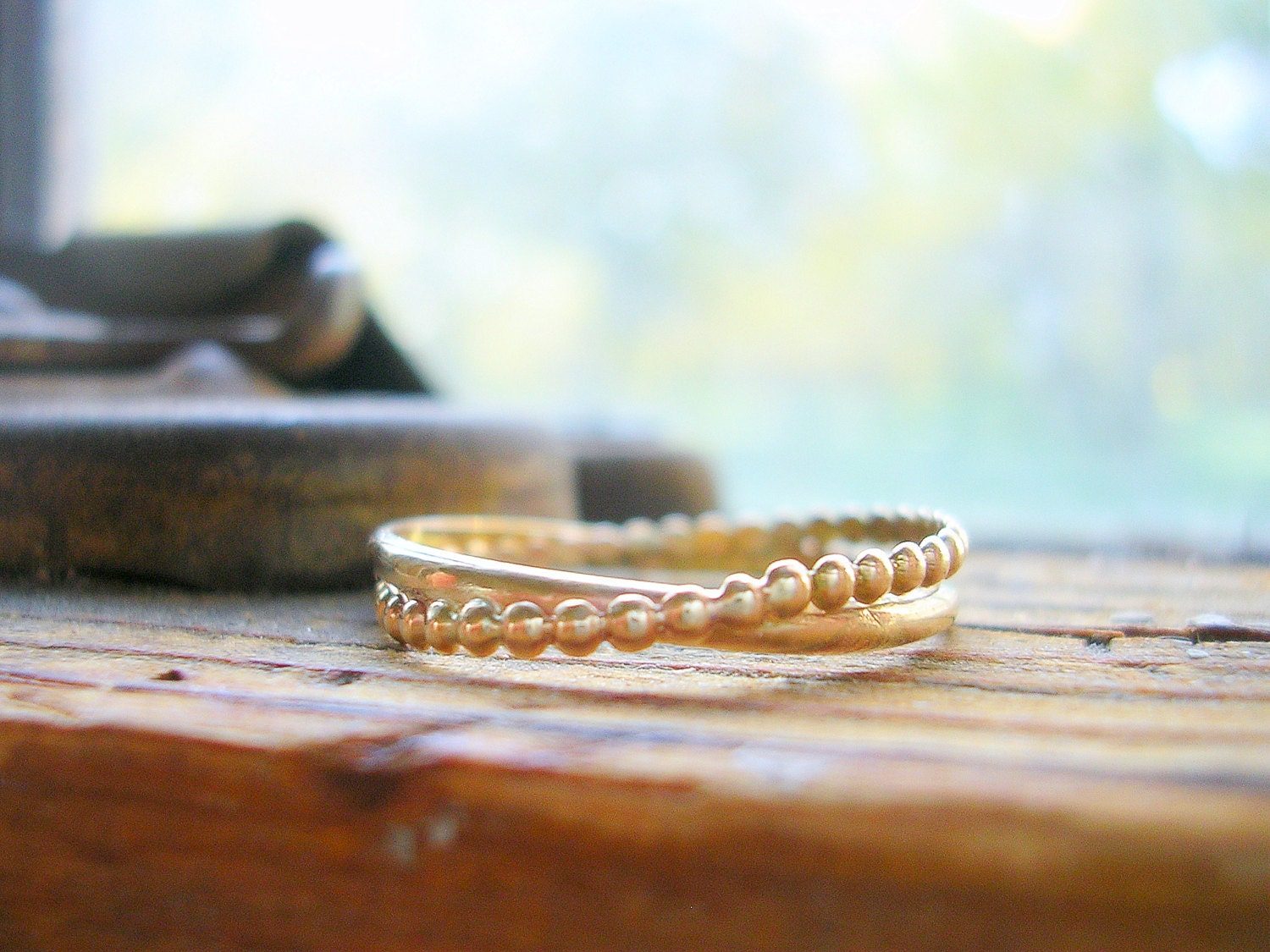 entwined together wedding band dainty 14k yellow by