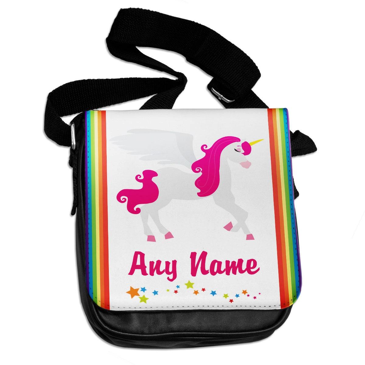 Personalised Pink Unicorn 01 Shoulder Bag 145  back to school  school  gym bag  pink  blue