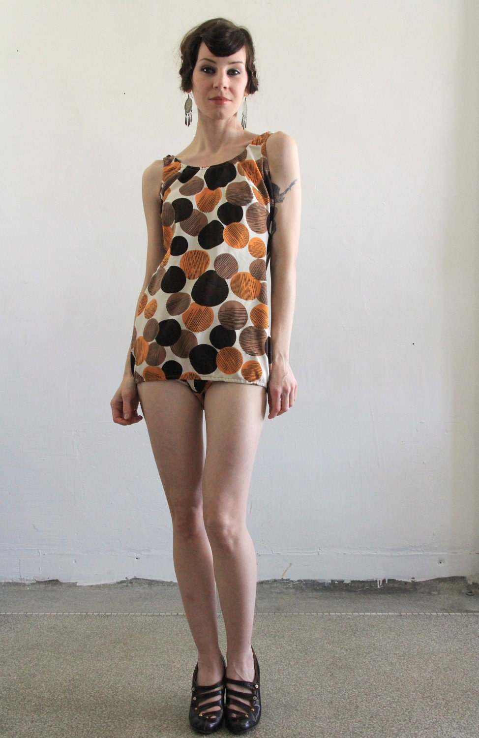 Vintage SwimSuit . Bathing Suit . Orange and Brown Circle Print . Pin Up . Bombshell . Summer Beach Wear