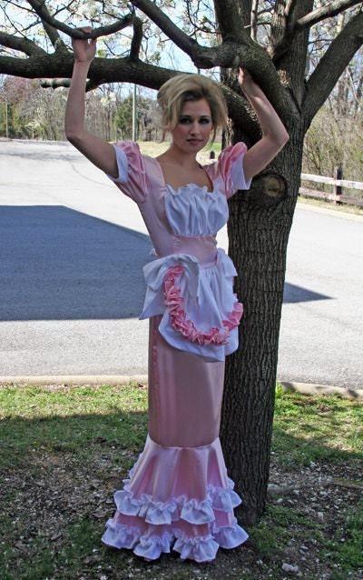 Swiss Maid Dress Little Bo Peep Costume Hobble by MGDclothing Ruffled Satin Housemaid