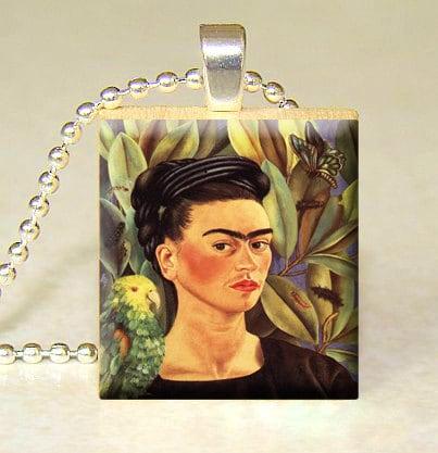 Handmade Scrabble tile art pendant Frida Kahlo by starmekcreations from etsy.com