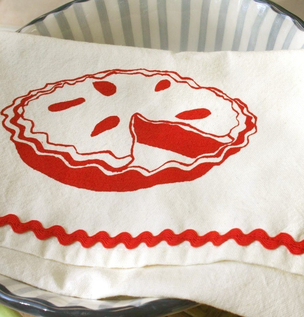 Pie Please. Vintage Striped Tea Towel.