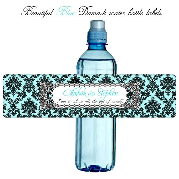 items similar to damask wedding water bottle label pick your color 2x